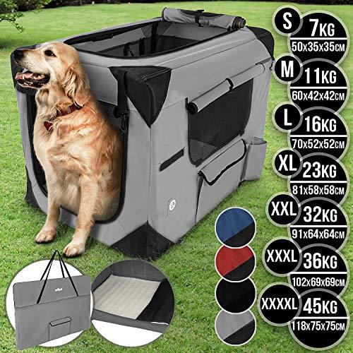 Hundebox aus Stoff - faltbar, zusammengefaltet tragbar, abwaschbar, Farbwahl, Größenwahl S-XXXXL - Hundetransportbox, Auto Transportbox, Katzenbox für Hunde, Katzen und Kleintiere (L, Dunkelgrau)