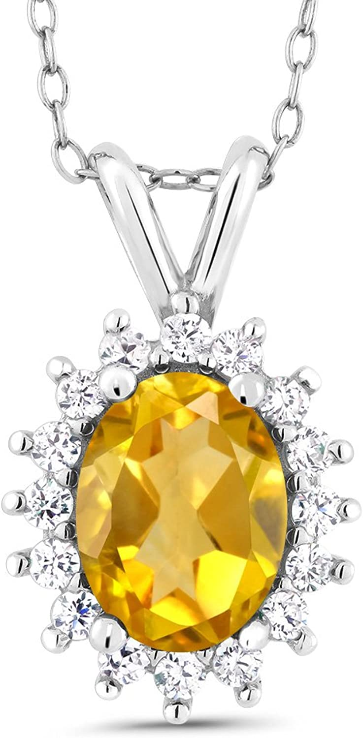 Oval Yellow Citrine 14K White gold Pendant 1.34 Cttw With 18 Inch Chain