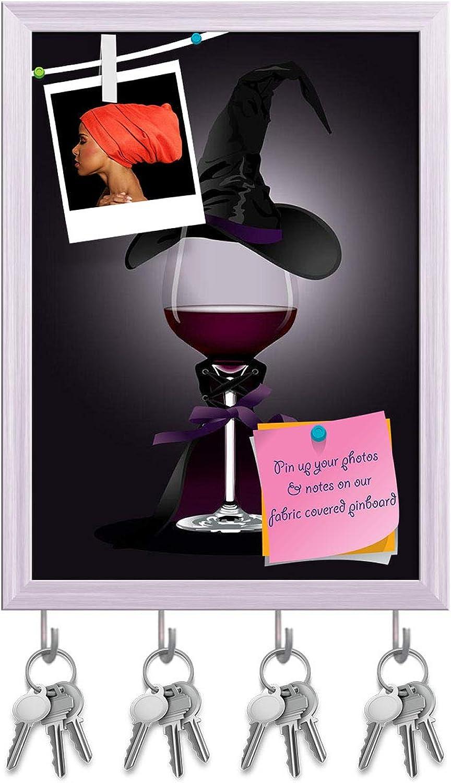 Artzfolio Wine Glass in Witch Costume Key Holder Hooks   Notice Pin Board   White Frame 12 X 16.5Inch