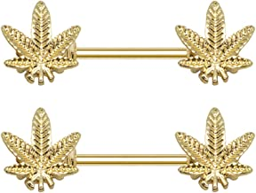 Pierce2GO 2 Pcs 14G Gold Marijuana Leaf Nipplerings Piercing Women Nipple Rings - 9/16