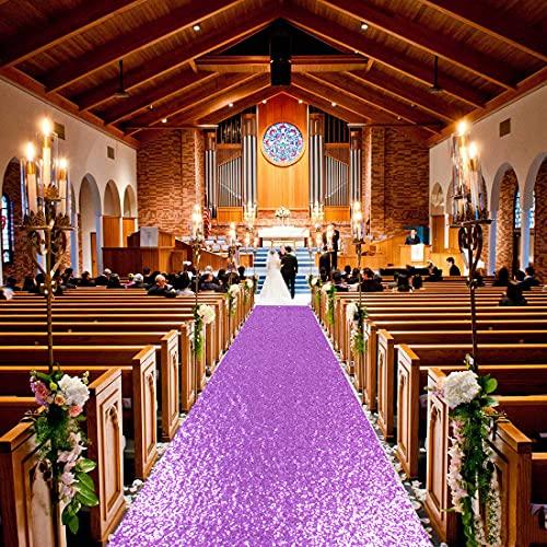 ShinyBeauty Lavender Aisle Runner Aisle Runners for Weddings 10 ft by 4 ft Lilac Aise Runner Wedding Aisle Runner Outdoor Glitter Runner Church Runner (4FTx10FT, Lavender)