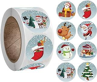 Woohooens Redondas Pegatinas Etiqueta Adhesiva Pegatina Kraft Navidad Decoración Pegatinas de Navidad Monigote de Nieve Fi...