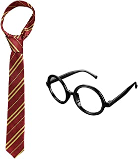 Cosplay Tie with Novelty Glasses Frame for Kids Teens, Halloween Christmas Party Supplies Costume Accessory Red