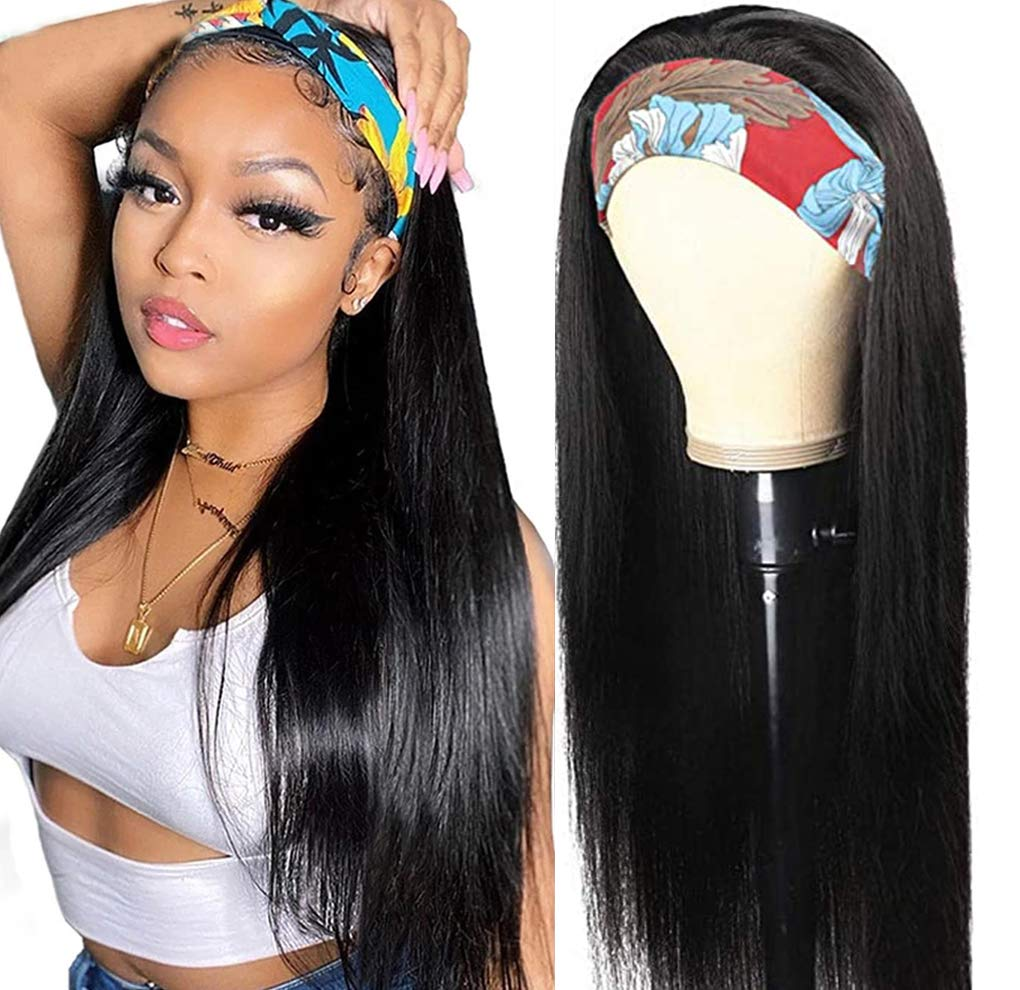 14 Inch Headband Wig Straight Human Wigs Hair Black For Sales results No. 1 Women No Shipping included