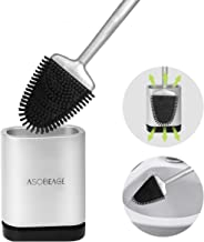 Asobeage Toilet Brush,Deep Cleaner Silicone Toilet Brushes with No-Slip Long Plastic Handle and Flexible Bristles, Silicon...