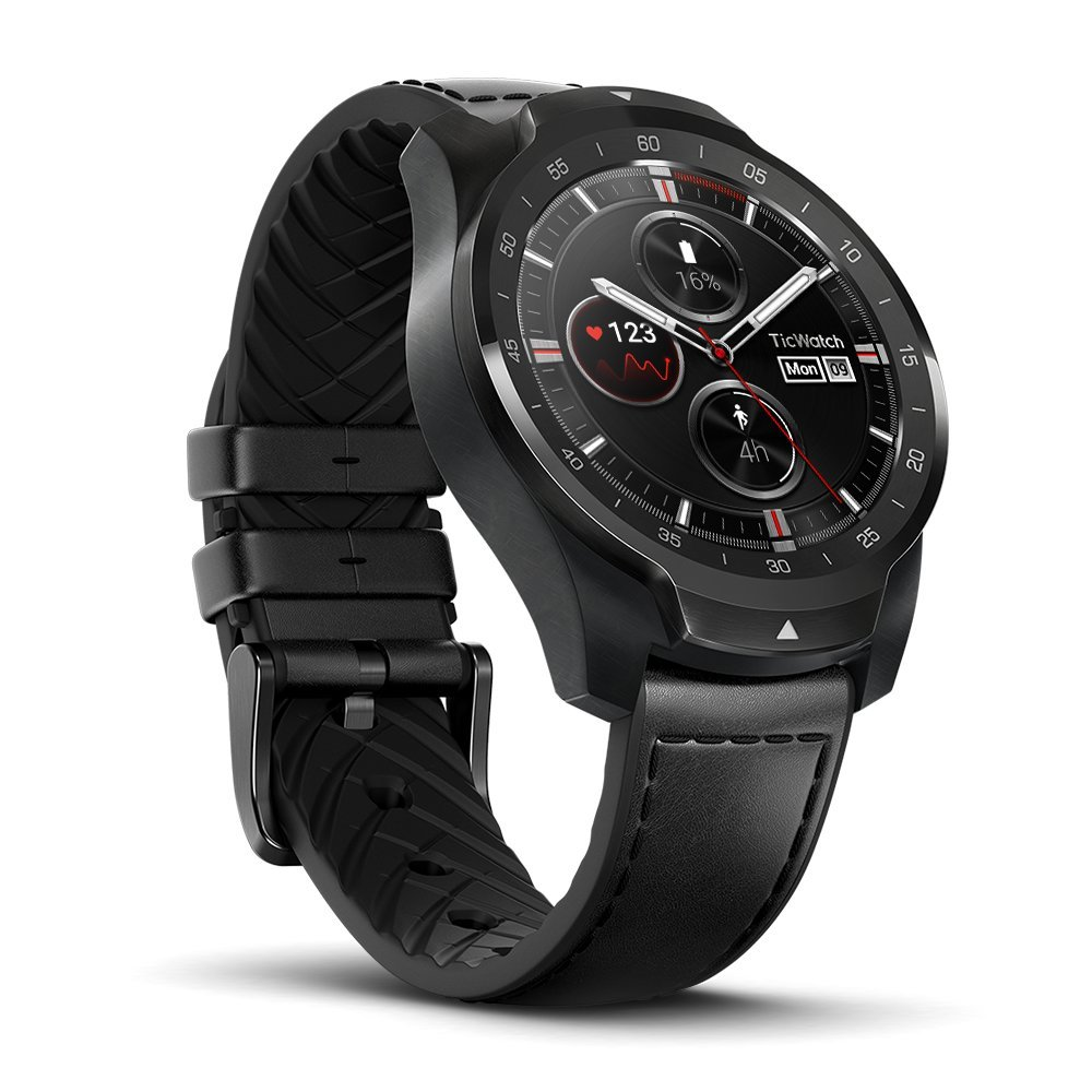 Mobvoi Ticwatch Pro, Premium Smartwatch with Layered Display for Long Battery Life, NFC Payment and GPS Build-in, Wear OS by Google, Compatible with iOS and Android (Black)