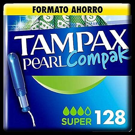 Tampax Compak Pearl Super avec applicateur de protection et discrétion 128 unités 1220 g