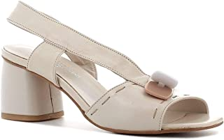 Pierfrancesco Vincenti Made in Italy Donna Sandalo in Pelle con Inserti (Beige)