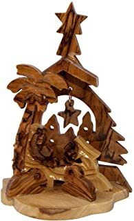 Blue White Shop Christmas Nativity Scene Natural Olive Wood Handmade from Bethlehem 3.7''/9.5 cm