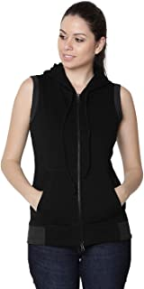 RUTE Women's Fleece Black Sleeveless Hooded Sweatshirt with Plus Size with Plus Size (2XS to 10XL)
