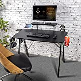Hyner Mesa para Juegos Escritorio para Computadora de Juegos Mesa Gaming con Estante Negro