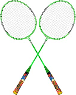 Guru Elite BS06 Pack of Two Racket Badminton Set, Size 27 Inch With Cover (Dark Green)