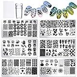 6 Plaques de Stamping (Améliorées) + 1 Tampon + 1 Grattoir, Vernis à ongles Plaques d'impression,...