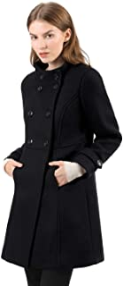 Allegra K Abrigo De Invierno Collar del Soporte De Capa Doble De Pecho para Mujeres