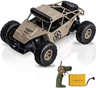 RC Cars KOOWHEEL 1:16 Scale 2WD Off Road Remote Control Cars with 2 Rechargeable Battery 2.4GHz Radio Remote Control Truck Monster High Speed Crawler USB Charger RC Car for Adults and Kids(Yellow)