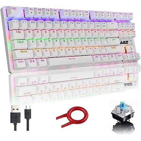 Teclado mecánico, Teclado de juego compacto de 87 teclas, Teclado retroiluminado LED mixto Rainbow, 24 retroiluminados, Teclado con cable USB con ...