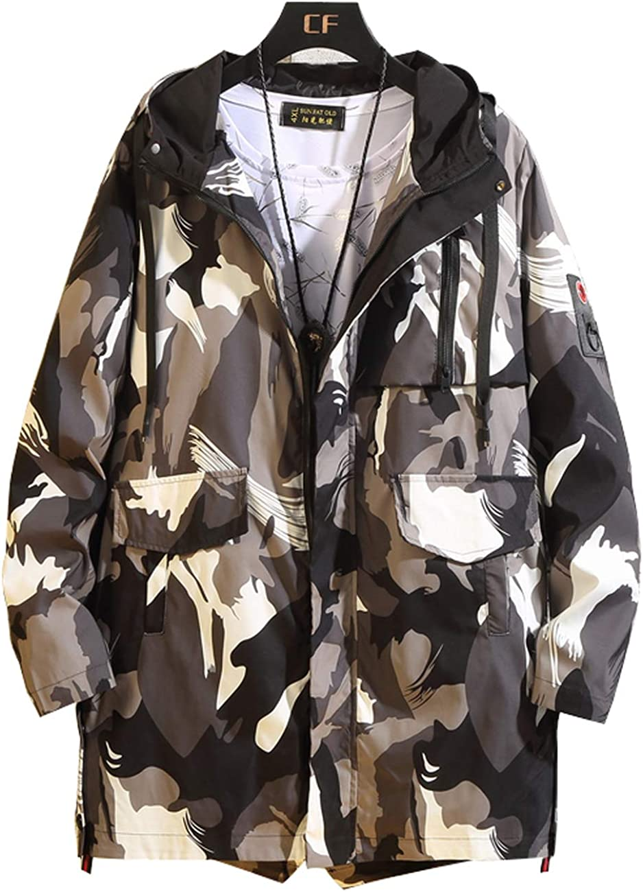 Zoulee Men's Zip Waterproof Jacket Lightweight Long Rain Jacket Outdoor Hooded Trench