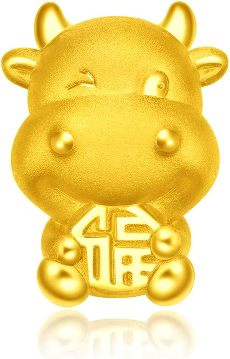 CHOW TAI FOOK 999 Pure 24K Gold Year of Ox Fortune Charm