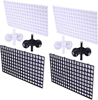 PIVBY 4 Pcs Aquarium Fish Tank Bottom Isolation Grid Divider Tray Egg Crate Louvre with 4 Pcs Sucker for Mixed Breeding