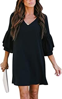 Women's Dress V-Neck Cute Bell Sleeve Loose Shift Dress Swing Mini Dress