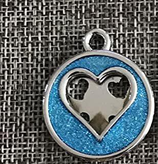 Polykor Useful Heart Pattern Powder Dog Tag Dog Necklace Pendant Accessories(Light Blue)