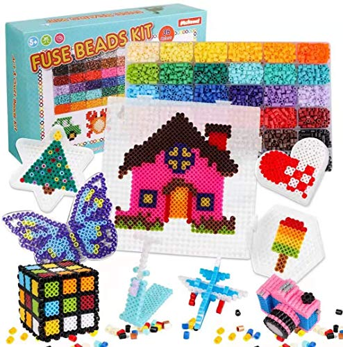 Meland Fuse Beads Kit - 11000pcs 36 Colors Iron Beads Set for Kids with 5 Pegboards, 2 Tweezers, Ironing Paper, Chain Accessories for DIY Crafts