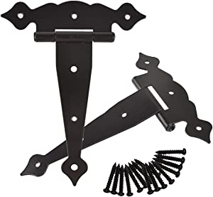 TamBee 8inch Strap Hinges Shed Door Hinges Barn Door Hinges Heavy Duty Gate Hinges for Wooden Fences Decorative Classic Hinges Black with Screws