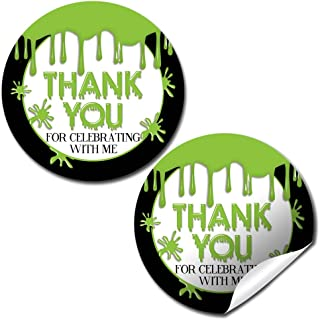 Green Slime Birthday Party Sticker Labels, 40 2