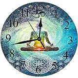 Yaoni Silencioso Wall Clock Decoración de hogar de Reloj de Redondo,Yoga, Mandala Design Zen Hippie...