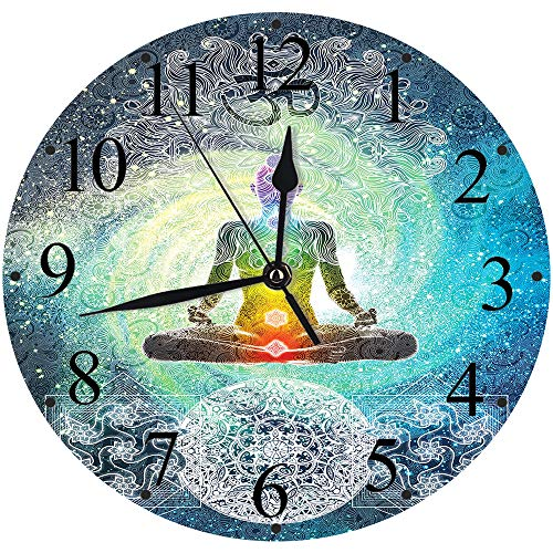 Yaoni Silencioso Wall Clock Decoración de hogar de Reloj de Redondo,Yoga, Mandala Design Zen Hippie Style con Sign Chakra Art Print, Turquesa Azul Oscuro Blanc,para Hogar, Sala de Estar, el Aula