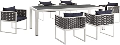 Modway Stance Outdoor Patio Woven Rope 7-Piece Dining Furniture Set