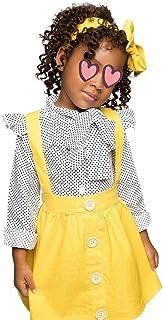 Conjunto de ropa de verano para niños pequeños y niñas, polka Dot Fly Sleeve Top + Strap Rock vestido + Bowknot
