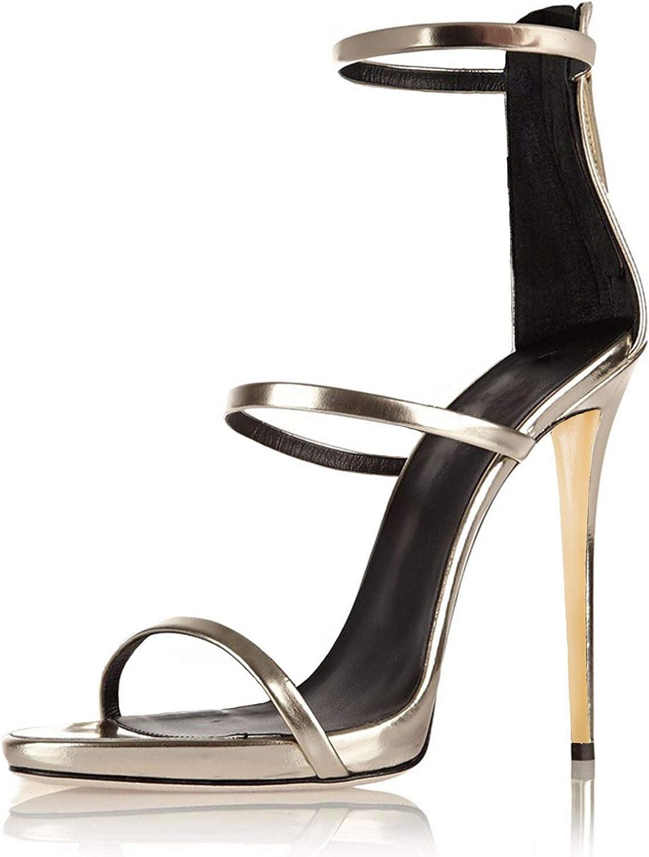 Women's high Heel Sandals Summer Bright Leather Opening Back Heel high Heel Sandals