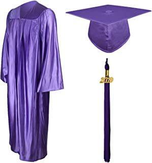purple and gold cap and gown