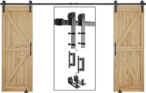 """popular 10ft online Heavy Duty Double Door Sliding Barn Door Hardware Kit + 2X Barn Door Bottom Adjustable Floor Guide Roller + 2X 12"""" Pull and Flush Barn Door Handle discount Set outlet online sale"""
