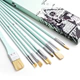 Miya Paint Brush Set - 10 Pieces Long Handle Hog Bristle Brush Great for Watercolor, Gouache, Oil, Acrylic...