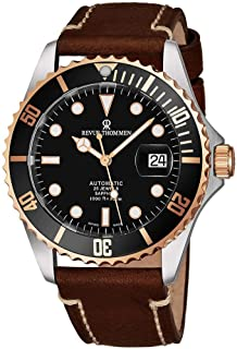 Revue Thommen Mens Automatic Diver Watch - 42mm Analog Black Face Diving Watch with Luminous Hands, Date and Sapphire Crystal - Rose Gold Brown Leather Band Swiss Made Waterproof Dive Watch 17571.2557