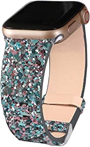 Bling Bands Compatible with Apple Watch Band 38mm 40mm 41mm 42mm 44mm 45mm Women, Iwatch Strap Shiny Bling Glitter Leather Wristband for Apple Watch Series 7 6 5 4 3 2 1 SE Sport Edition (Blue)