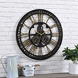 FirsTime & Co. Gilded Gears Outdoor Clock, American Crafted, Brushed Gold, 24 x 1.5 x 24, (31164)
