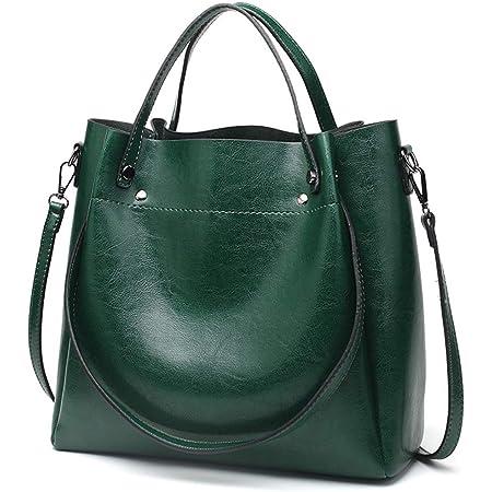 Pahajim Damen Ölwachs Leder Tasche Schulter Einkaufstasche Einfache Diagonal-Tasche PU Lederhandtaschen Ölwachs-Einkaufstasche Grosse Kapazität Beuteltasche(Grün)