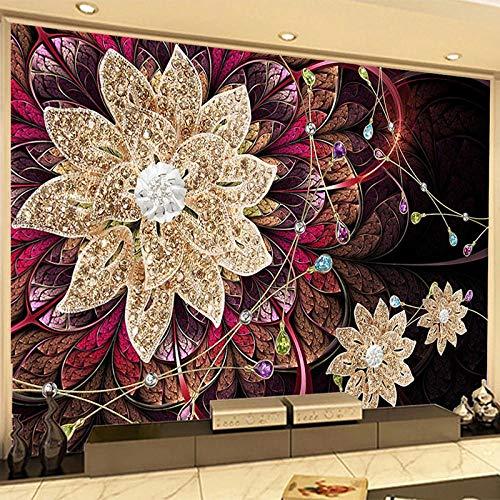 BHFDCR fotomural 3d Diamantes joyas flores moda 400x250cm Póster de pared mural imagen grande papel tapiz niño niña dormitorio niños habitación decoración arte