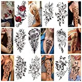 Temporary Tattoos For Women Girls - 9 Sheets Plant Flowers Flower Rose Tattoo Sticker For Adults Men Women, Large Arm Snake Butterfly Animal Body Art Sticker,Waterproof And Sweat Proof Totem Tattoo S