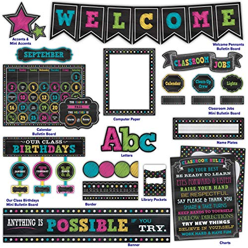 Teacher Created Resources Chalkboard Brights Classroom Kit (32402)