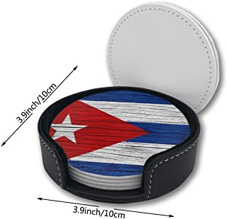YETTA YANG Wooden Texture Cuban Flag Printed Pu Leather Car Coasters Girls Boy Kids Round Circle Holder Table Desk Mug Mats of 6 Piece Pc Set Decor Ornament Decorations Home Party Gift