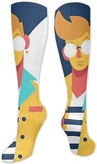MISS-YAN, Pop Creative-Jungen-Kunst-Malerei-Socken para hombres y mujeres divertidas verrücktes carreras Sport Trel Sport Over The Calf calcetines
