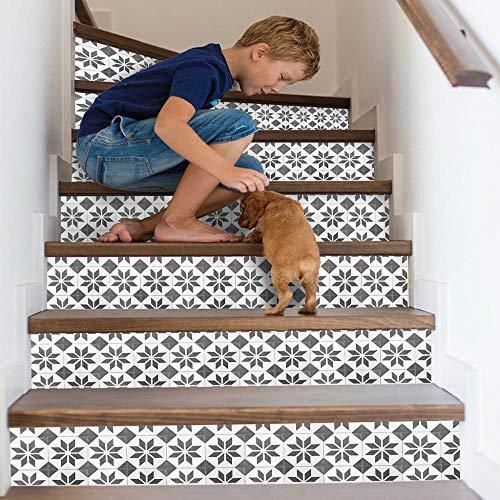 GVRPV Treppenaufkleber13pcs 3D Flower Staircase Stair Floor Sticker Selbstklebende Treppe wasserdichte PVC-Wandtattoo Home Decor
