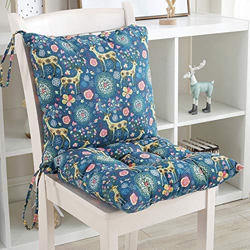 Cojín para silla de jardín Cojín reclinable Cojín de asiento Cojín de respaldo Cojín de respaldo bajo Cojines de silla para silla de oficina y en casa Espuma suave lavable (Ciervo azul, 50 * 50)