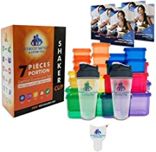 Fitbody Nation 28pcs 21 Day Portion Control Containers (Color-Coded, Label-Engraved) for Meal Prep Storage with 2 Protein ...