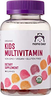 Amazon Brand – Mama Bear Organic Kids Multivitamin, 60 Gummies, 1 Month Supply