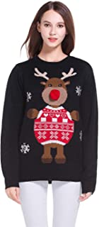 **** Women's Christmas Cute Reindeer Knitted Sweater Girl Pullover